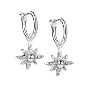Silver Plated Star Earrings with Clear Stones