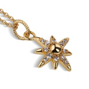 Gold Plated Star Pendant with Clear Stones