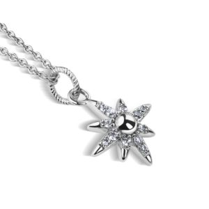 Silver Plated Star Pendant with Clear Stones