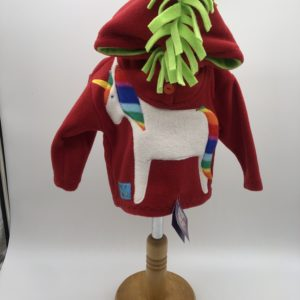 Wacky Clothing  Fleece – Red with Horse Pattern