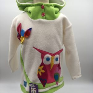 Wacky Clothing  Fleece White/Green  with Owl Pattern
