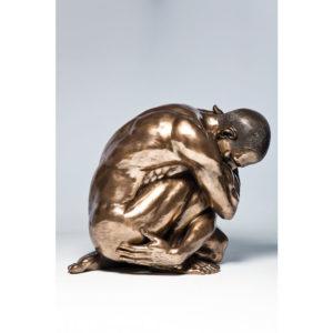 Deco Figurine Nude Man Hug Bronze