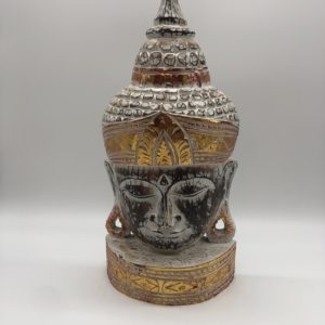 Buddha carved wood white + gold colour